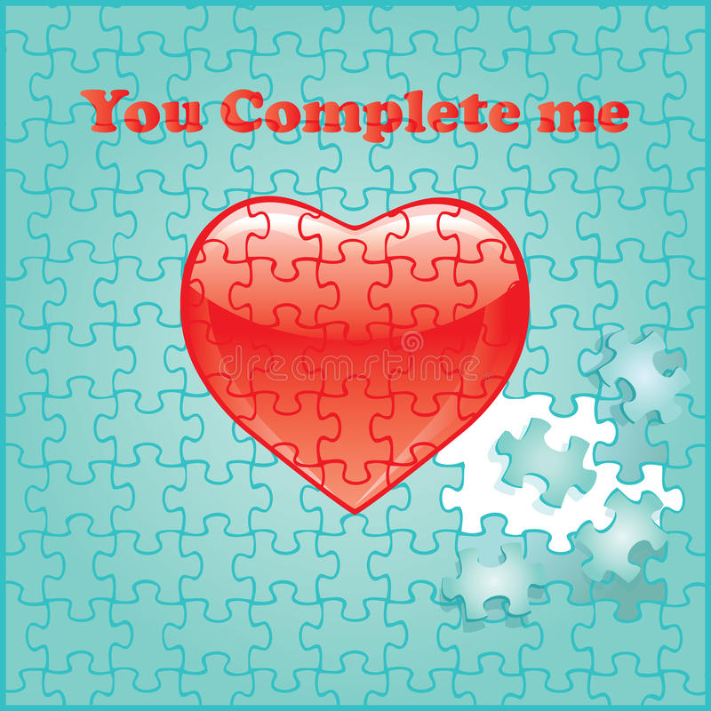You complete me puzzle with red heart vector illustration