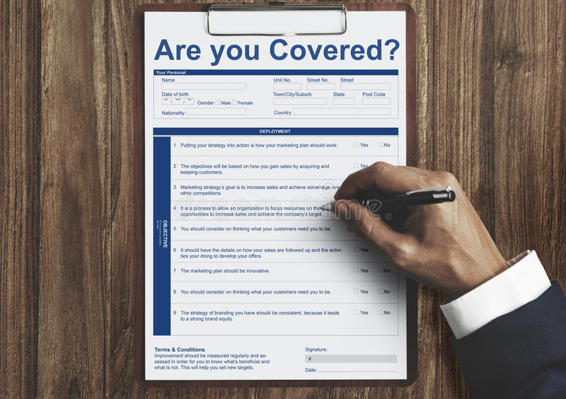 Are You Covered Insurance Concept. Are You Covered Insurance Registration royalty free stock image