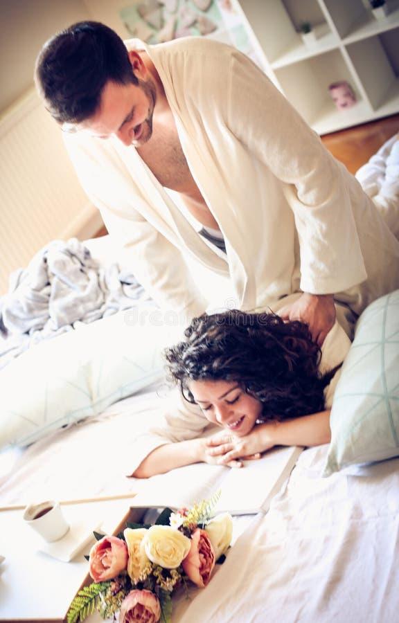 You deserve a massage, my love. stock photo