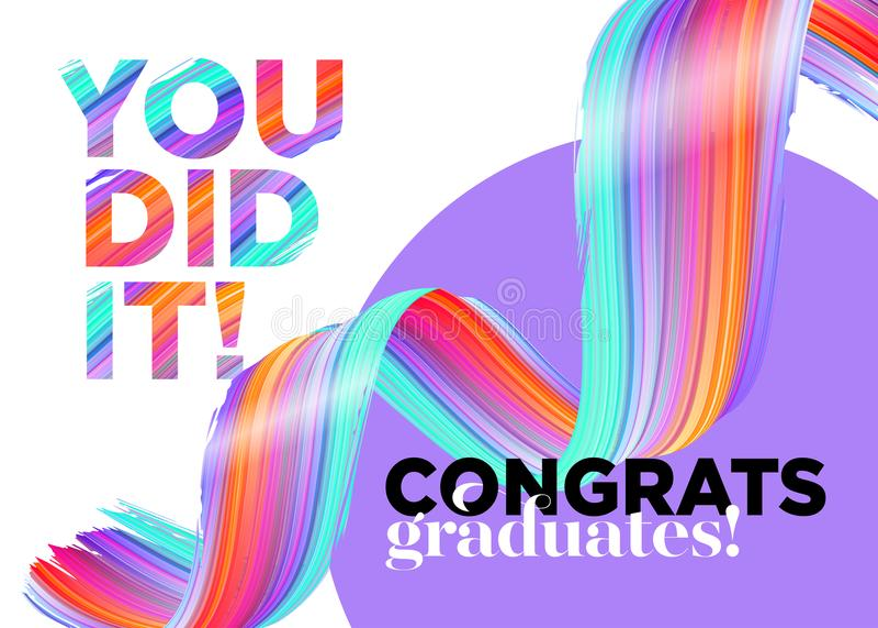 You Did It Congratulations Graduates Class of 2018 Vector Logo. stock illustration