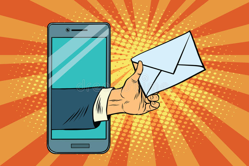 You email or a message in smartphone royalty free illustration