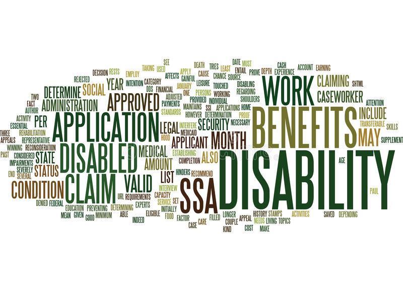 Are You Entitled To Claim Disability Benefits Word Cloud Concept stock illustration