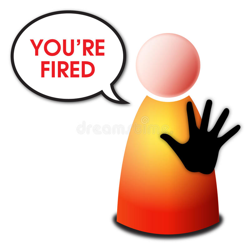 You are fired. Vector isolated red yellow orange person with black hand sign stop and speech bubble with text You're fired on white background - unemployment and vector illustration