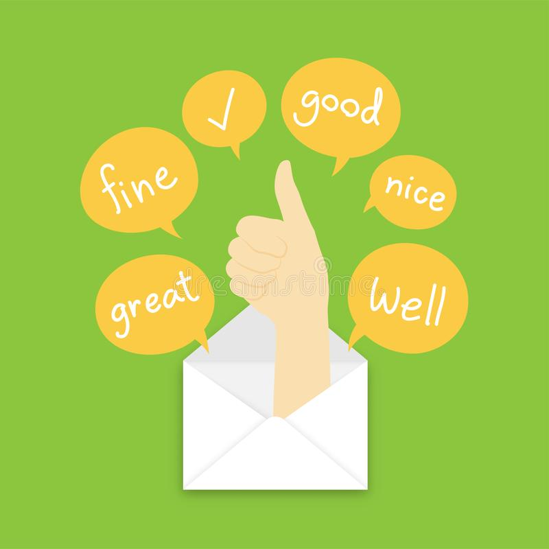 You got mail concept idea good hand sign language pop up from mail illustration and text box isolated on green color background,. With copy space vector illustration