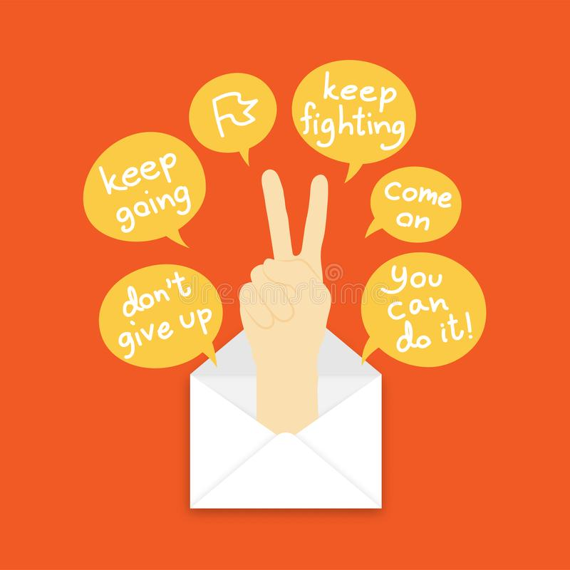 You got mail concept idea keep fighting hand sign language pop up from mail illustration and text box isolated on orange color. Background, with copy space royalty free illustration