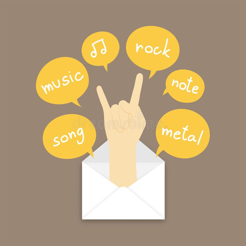 You got mail concept idea rock hand sign language pop up from mail illustration and text box isolated on brown color background,. With copy space vector illustration