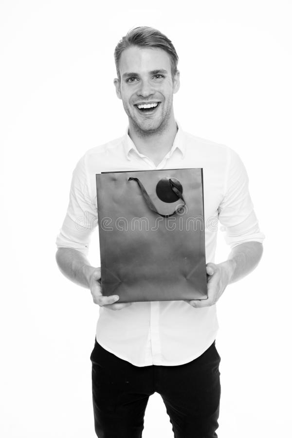 This is for you. Guy satisfied gives bag gift. Man happy offers package purchase. Delivery service. Guy buy clothes. Online. Online shopping concept. Take royalty free stock photography