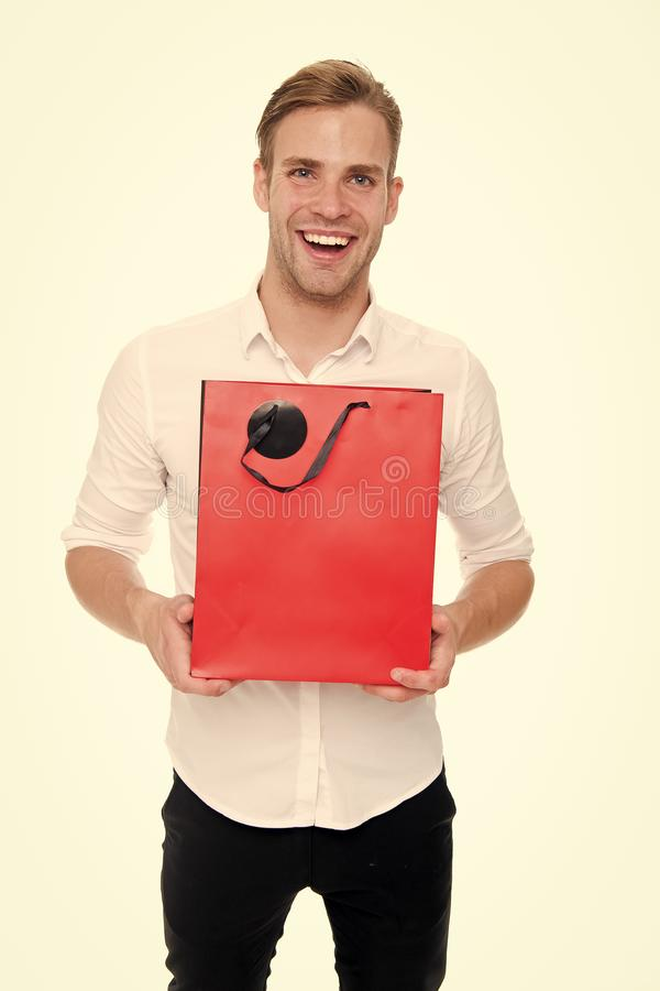 This is for you. Guy satisfied gives bag gift. Man happy offers package purchase. Delivery service. Guy buy clothes. Online. Online shopping concept. Take royalty free stock images