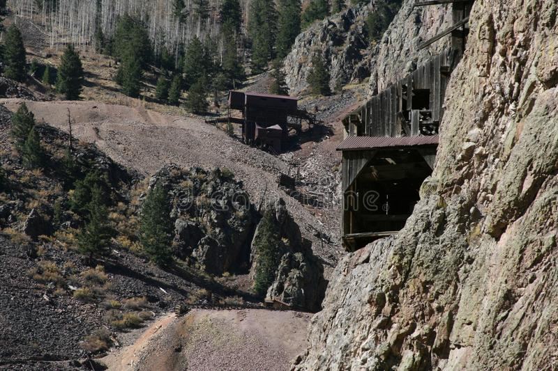 Remote Mountain Mine high up in the Rocky`s stock images