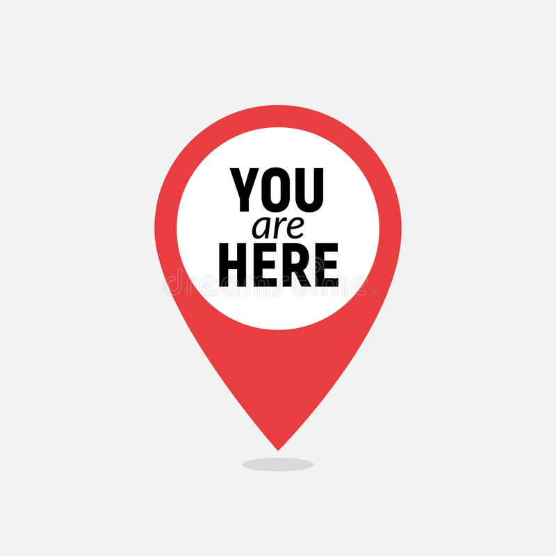You are here sign icon mark. Destination or location point concept. Pin position marker design.  vector illustration