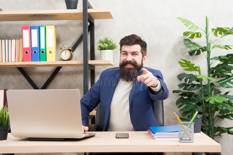 You hired. Answer interview questions. Man bearded hr manager sit in office. Job interview concept. Tell me about. Yourself. Leave lasting impression stock image