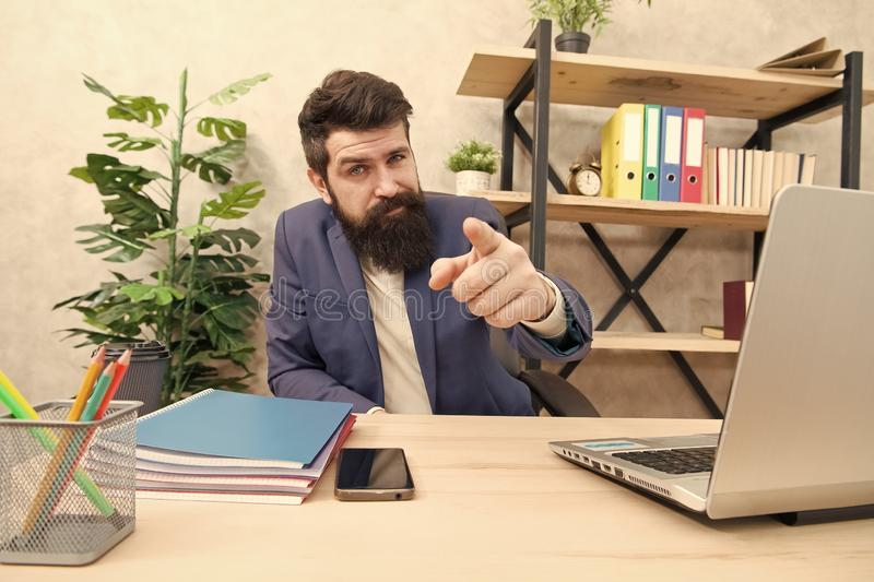 You hired. Man bearded hr manager sit in office. Job interview concept. Answer interview questions. Tell me about. Yourself. Leave lasting impression royalty free stock image