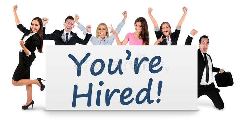You are hired word. Writing on banner royalty free stock images