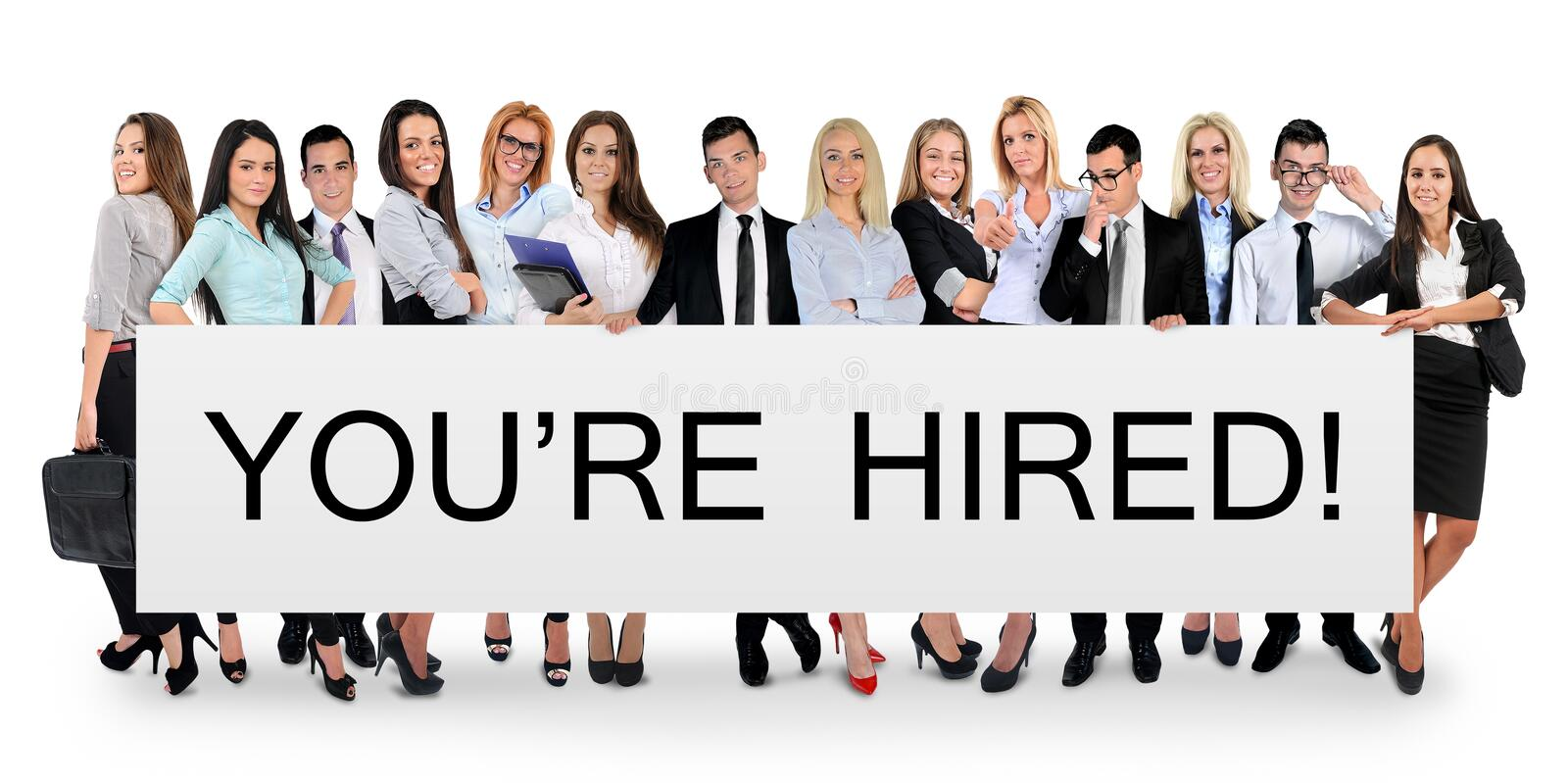 You are hired word. Writing on white banner royalty free stock photography