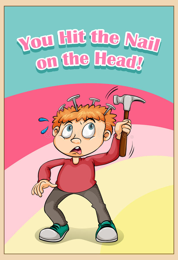 You Hit The Nail On The Head Stock Vector - Illustration of hurt ...