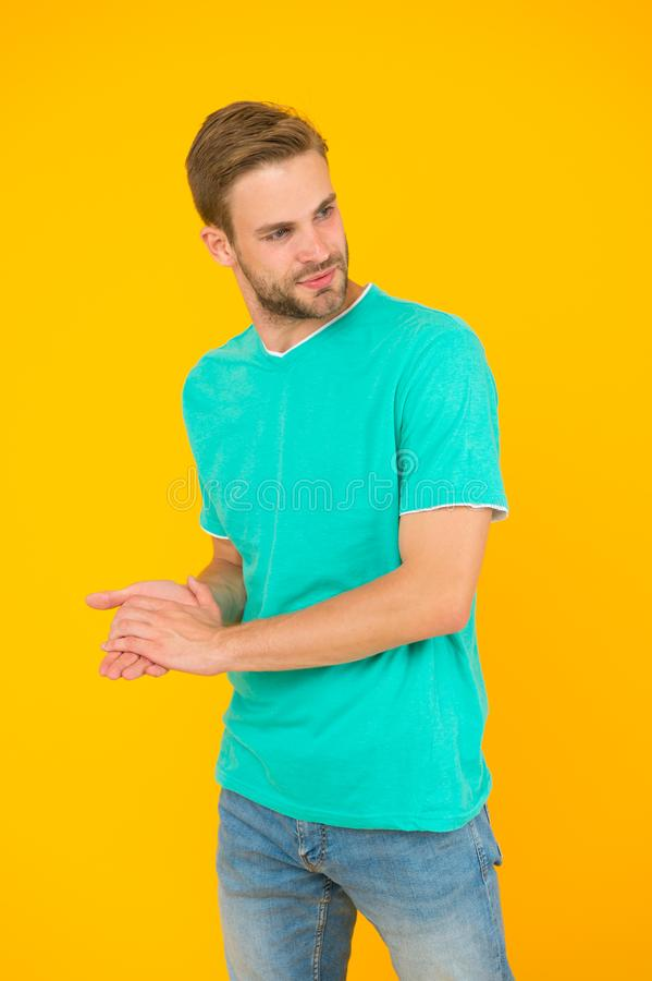 You really impress me. macho man charismatic look. guy sexy and stylish bristle. handsome man unshaven face. sexy guy. Yellow background. Male barber care stock images