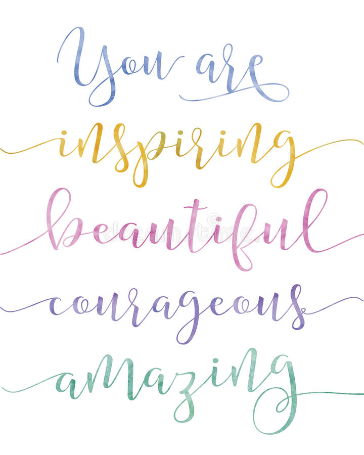 You Are Inspiring Calligraphy Stock Illustration - Illustration of  appreciation, background: 82312781