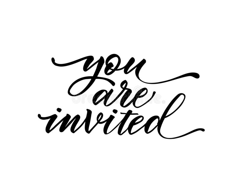 You are invited text vector on white background. Lettering for invitation, wedding and greeting card, prints and posters. Hand dra vector illustration