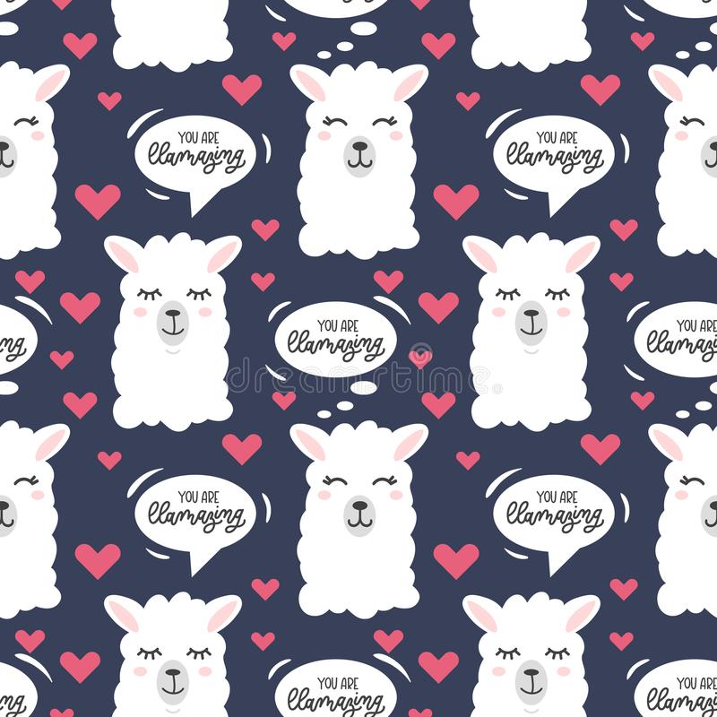 You are llamazing llama seamless pattern. Cute llama drawing w stock illustration