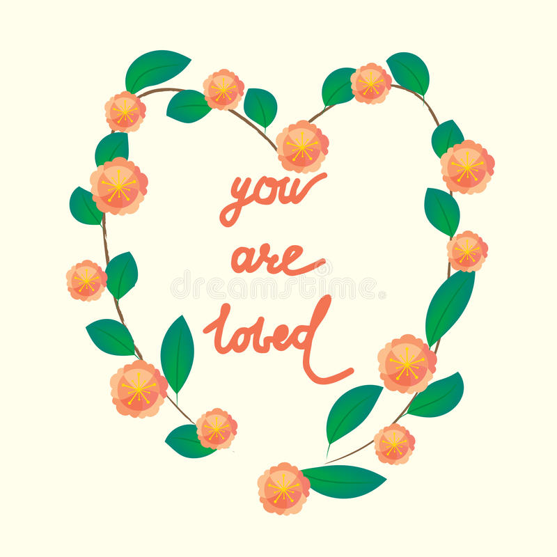 You are loved ,hand lettering Valentine's Day vector illustration