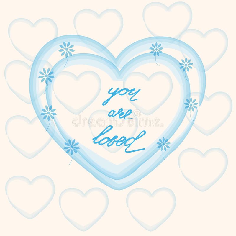 You are loved ,hand lettering Valentine's Day royalty free illustration