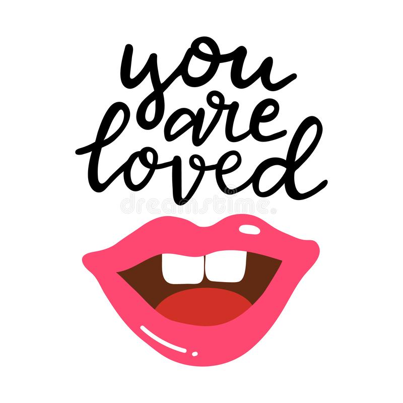 You are loved hand written lettering. Hand drawn phrase with pink glossy lips. Summer vacation decorations for greeting. Card, posters, print. Summer beach vector illustration