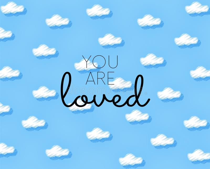 You are loved lettering illustration. Vector illustration. Usable for different purposes royalty free illustration
