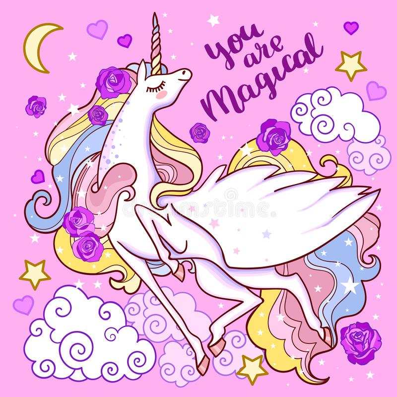 You are magical Beautiful white unicorn on a pink background. Vector. Beautiful white unicorn on a pink background among the stars of the clouds. For design royalty free illustration