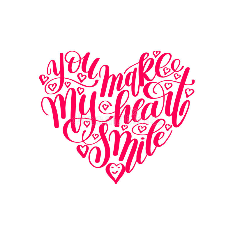 You make my heart smile handwritten calligraphy lettering quote vector illustration