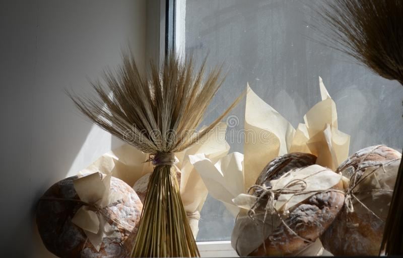 Fresh bread in the bakery in the early morning royalty free stock photography