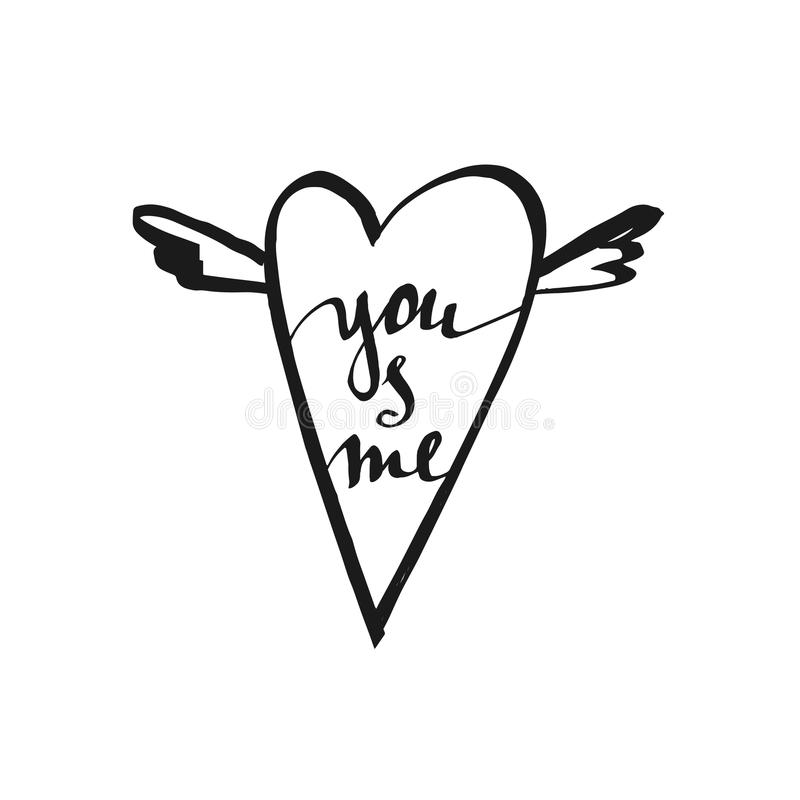 You and me - handwritten lettering, calligraphic phrase on white background with heart. royalty free stock images