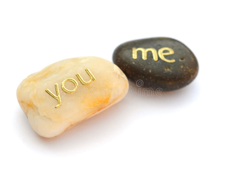 You and me pebbles stock photo