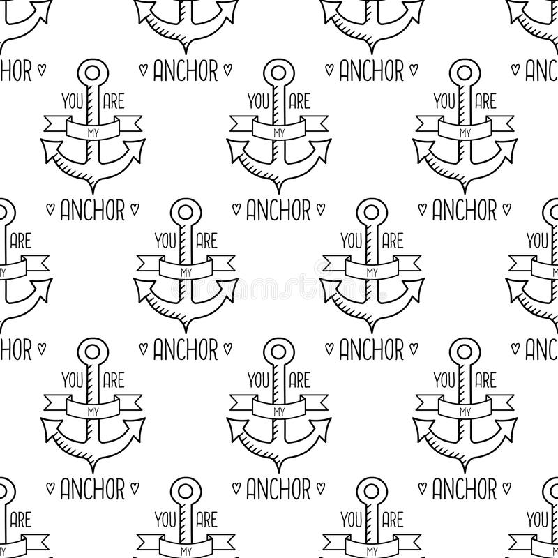 You Are My Anchor seamless pattern. Nautical Design. stock illustration