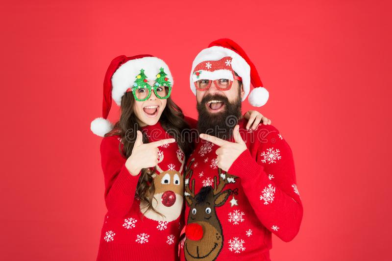 You are next. new year celebration. family together on winter holiday. happy father and daughter love xmas. little girl stock photography