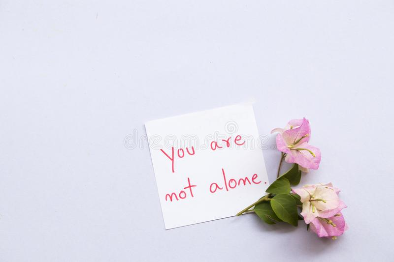You are not alone message card with pink flowers royalty free stock photo