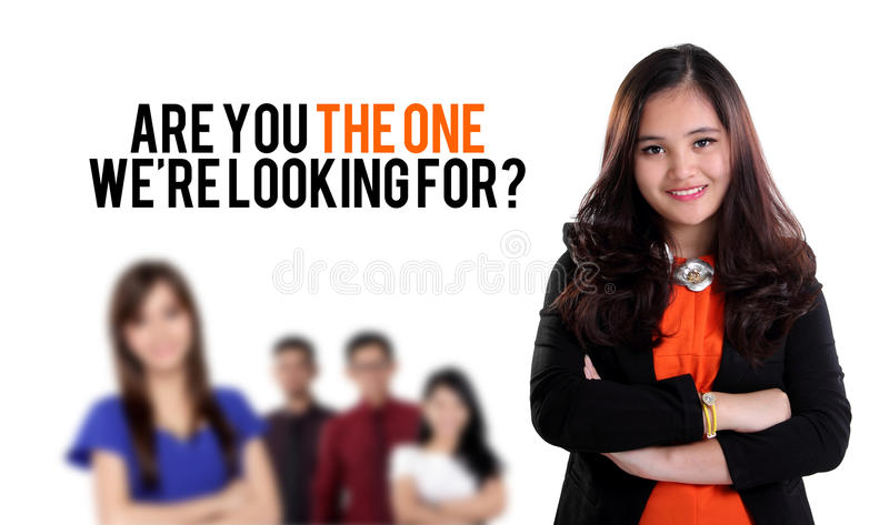 Are you the one we're looking for?. Job recruitment design with image of young business people standing, on white background royalty free stock photography