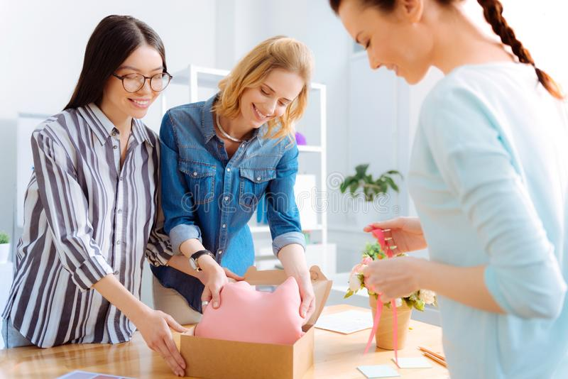 Positive delighted girls working together royalty free stock photography