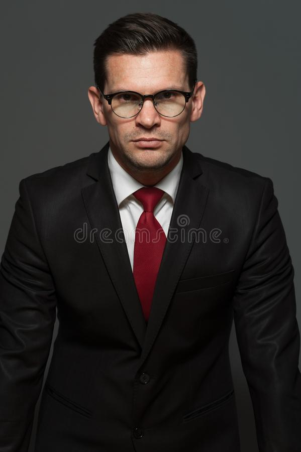 Cute businessman posing indoors stock photography