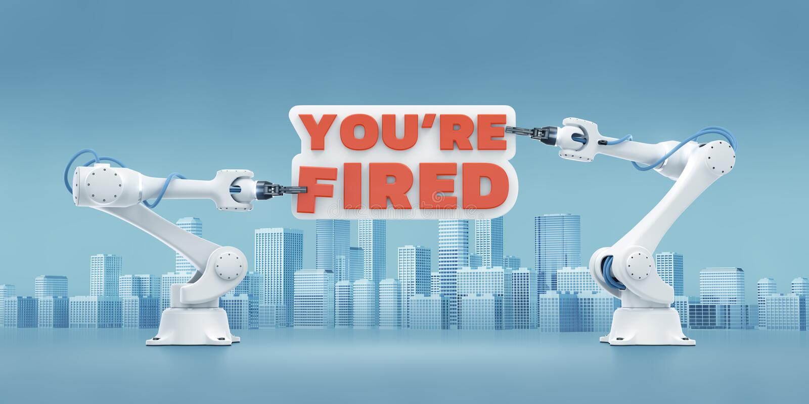 You`re Fired. Industrial robotic manipulators, holding text bunner on cityscape background. 3d rendering graphic composition on the theme of `Technological royalty free illustration