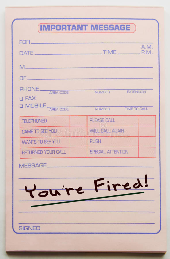 Download You're Fired Message Pad stock image. Image of call, pink - 22014617