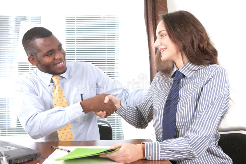 You're hired!. Congratulations, you're hired! Success in job interview stock photo
