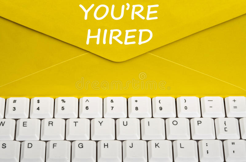 You're hired message. On envelope royalty free stock photography