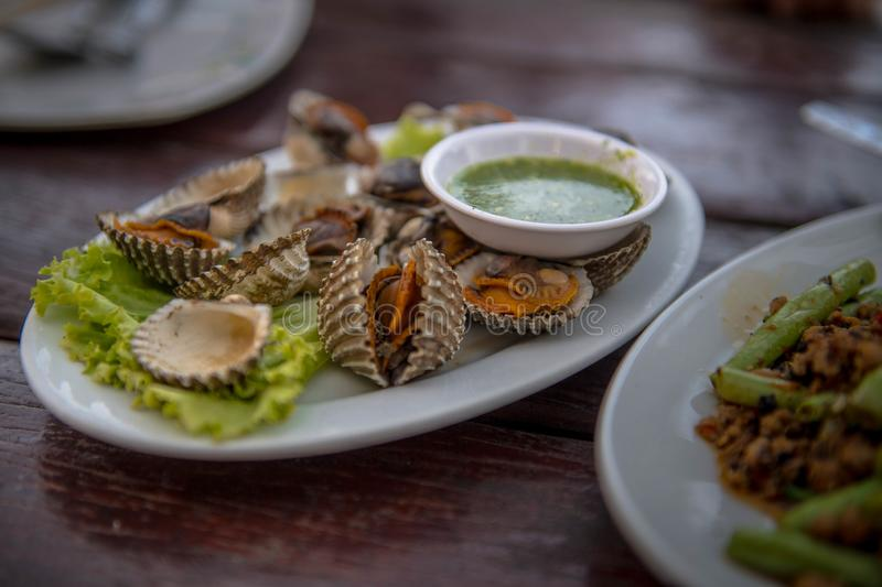 When you`re hungry.Scallop is one delicious food. stock images