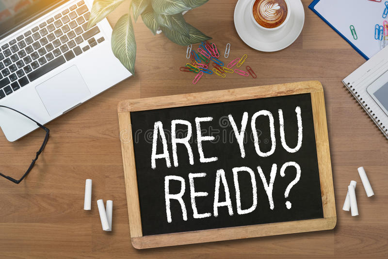 ARE YOU READY? Businessman work hard desktop with laptop, royalty free stock photography