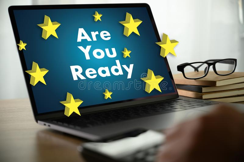 ARE YOU READY? Businessman work hard desktop with laptop, tablet READY royalty free stock photo
