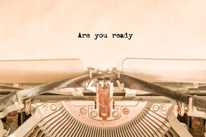 Are you ready with a vintage typewriter royalty free stock photo