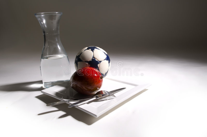Are you real fan of soccer ?. Luxury breakfast for soccer fan stock photo