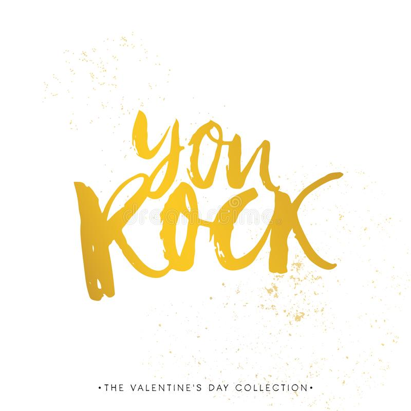 You Rock! Valentines day calligraphy gift card. Hand drawn design elements. Handwritten modern brush lettering. Vector vector illustration