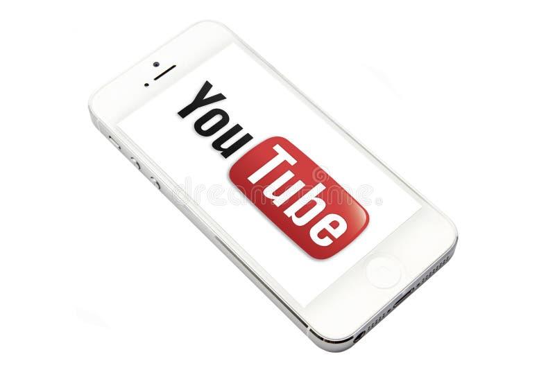 You Tube e iphone 5 foto de archivo