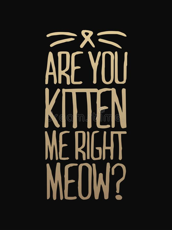 You've cat to be kitten me right meow - hand drawn dancing lettering quote isolated on the white background. Fun brush ink. Inscription for photo overlays vector illustration